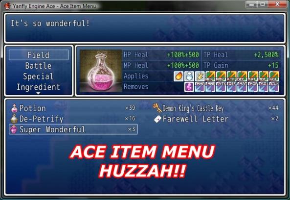 Ace Item Menu | Yanfly Channel