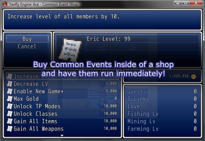Yanfly Engine Ace - Common Event Shop :: rpgmaker net