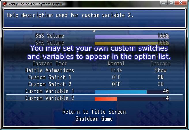 Rpg Maker Vx Ace Custom Menu Scripts: [VXace] System Options